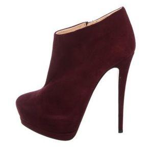 Giuseppe high heel platform boot suede burgundy